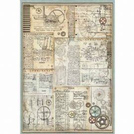Stamperia A3 Rice Paper - Voyages Fantastiques Gears - DFSA3032